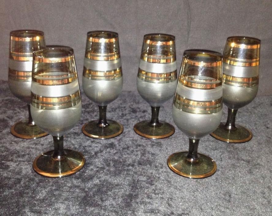 Vintage SET of 6 Striped Gilded & Smokey Cordial Bar Glasses Bohemian Czech