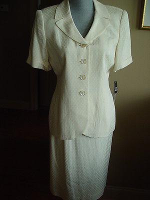 Albert Nipon New Skirt Suit Size 6 Yellow white polka dots  26z32 Acetate HG-2