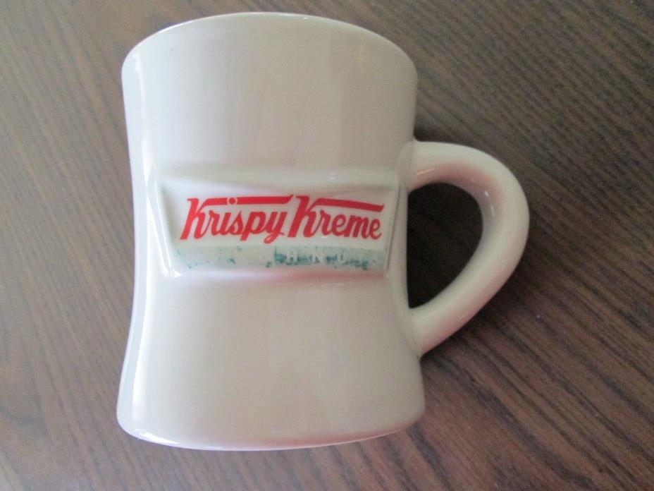VINTAGE KRISPY KREME DOUGHNUTS HEAVY COFFEE MUG WHITE CERAMIC RARE