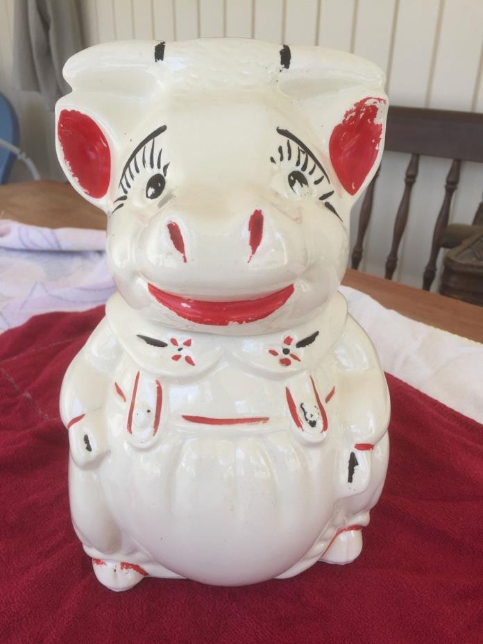 Vintage American Bisque ABCO Bull Cow Cookie Jar  10 3/4