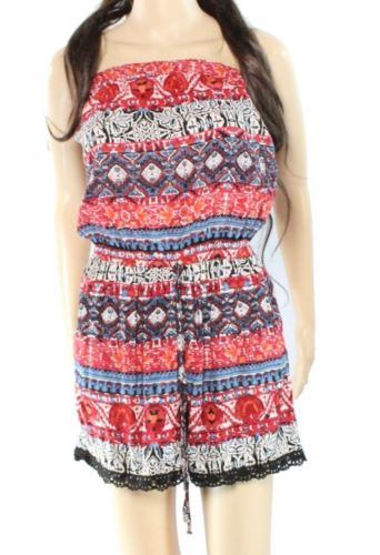 Angie NEW Red Size Medium M Junior Printed Crochet Lace Trim Romper $39 468