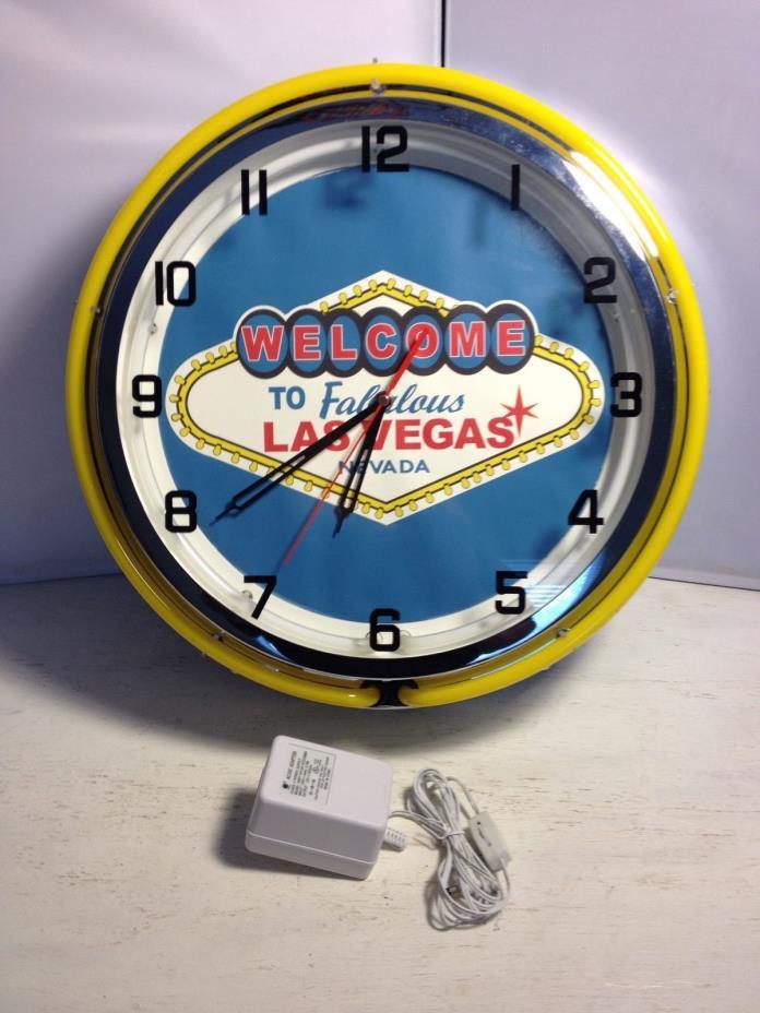 Wall Clock 2 Neon Light , Welcome to Las Vegas, Bar Decor, Man Cave,14