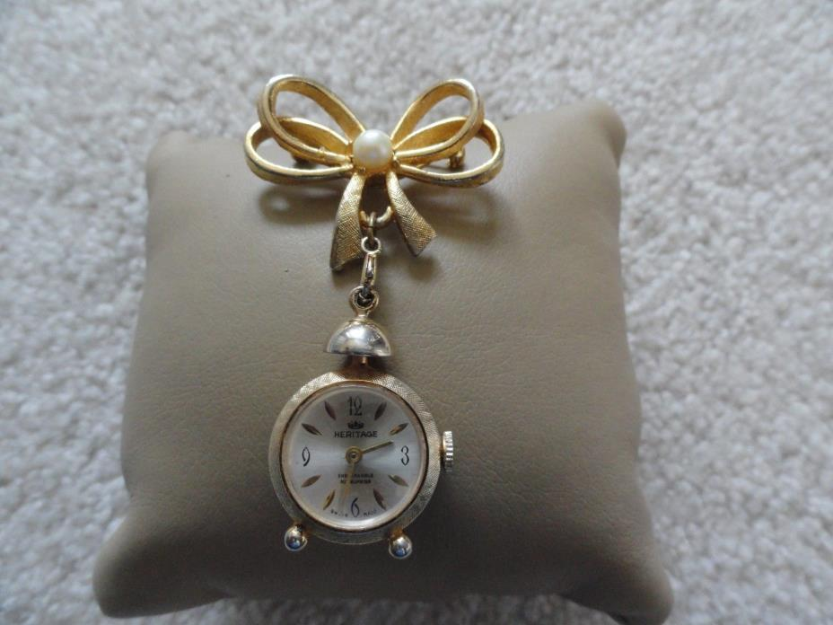 Swiss Made Heritage Vintage Wind Up Brooch Pin Watch - Problem