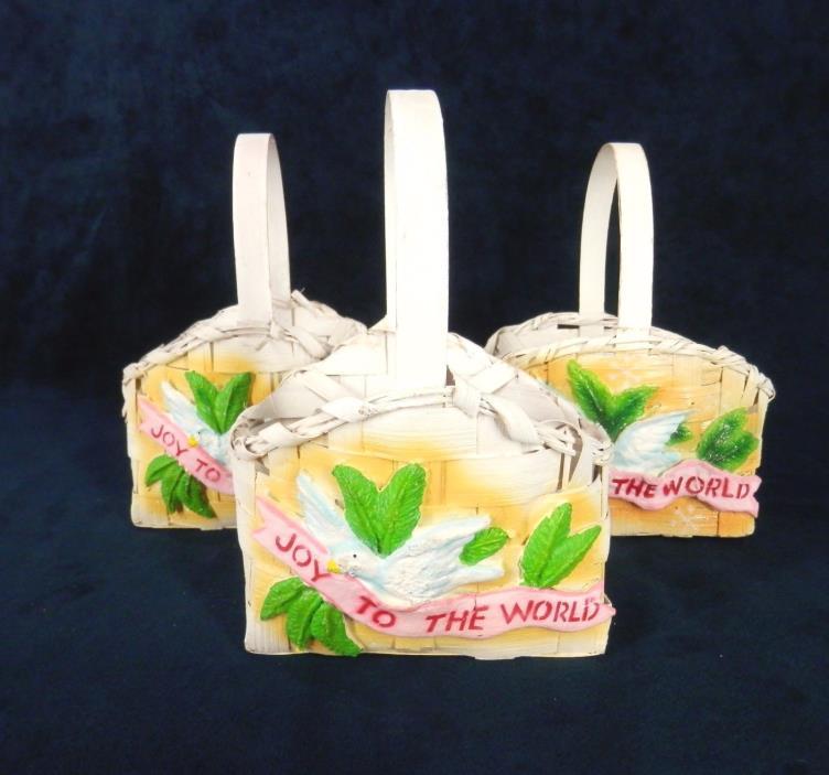 Set 3 Gift Basket Sturdy White Woven 3D