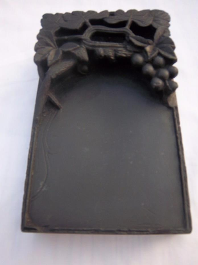 very old Chinese black Carved  Ink  Stone with writing box with contents