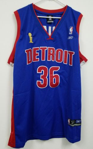 NWOT Rasheed Wallace Detroit Pistons NBA Finals Authentic Reebok Jersey - 54