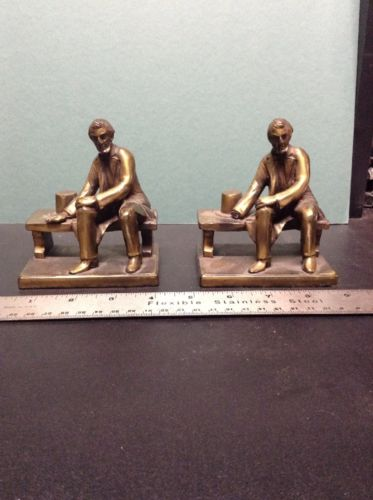 ANTIQUE RONSON PRESIDENT ABE LINCOLN HAT PARK BENCH BRONZE BOOKENDS HAND MISSING