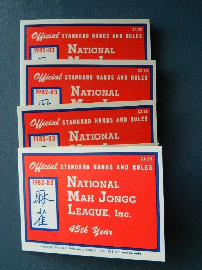 Set  4 Official 1982-83 National MAH JONGG JONG League Rules Game Cards (lot 29)