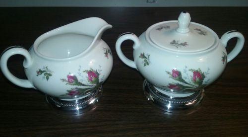 ROSENTHAL China Moss Rose Pattern Creamer & Sugar w/Lid Sterling Silver Base