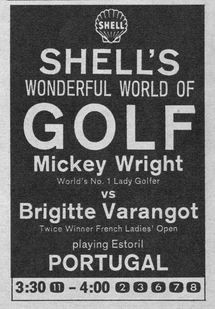 1964 TV WOMANS GOLF AD~ESTORIL,PORTUGAL~MICKEY WRIGHT vs BRIGITTE VARANGOT~Shell