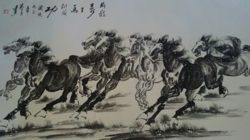 Large Chinese Wild Horses Scroll Original Watercolor B&W Painting 33X66