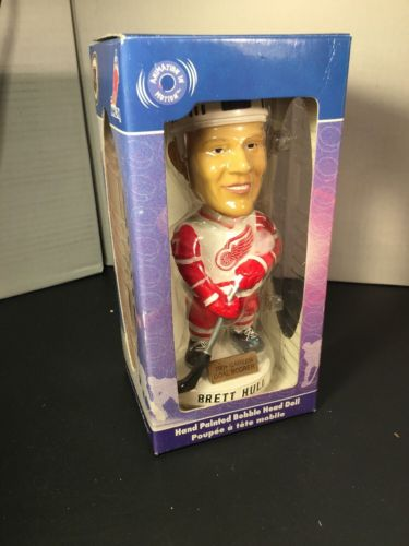 Detroit Red Wings NIB Brett Hull Hand-Painted BOBBLEHEAD Bobble Head Dobbles