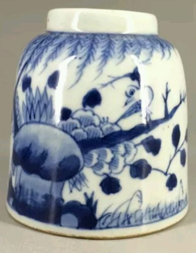 Chinese blue and white porcelain painting painting manually fish jar kangxi year
