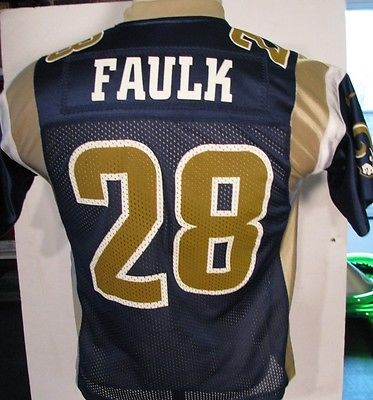 Official MARSHALL FAULK #28 St Louis Rams Football NIKE JERSEY Shirt NFL Youth M