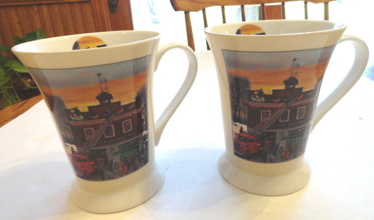 2 Portmeirion Pimpernel Christmas at the Firehouse Mugs # 8153