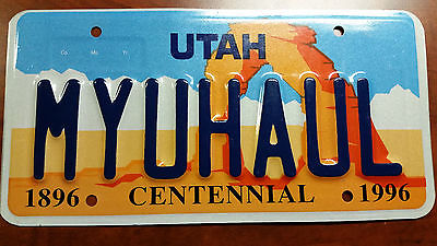 MY U-HAUL UHAUL LICENSE PLATE 1996 UTAH MOVING TRUCK STORAGE TRAILER