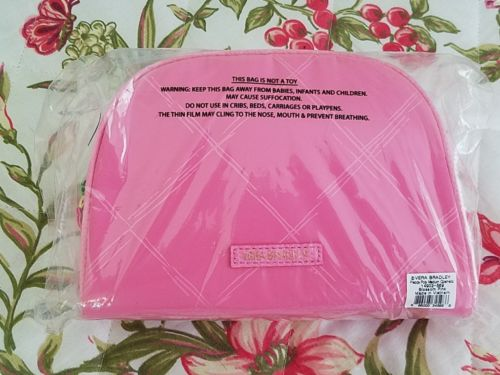 VERA BRADLEY MEDIUM PREPPY POLY PINK COSMETIC CASE ORIG PACKAGING NEW WITH TAGS