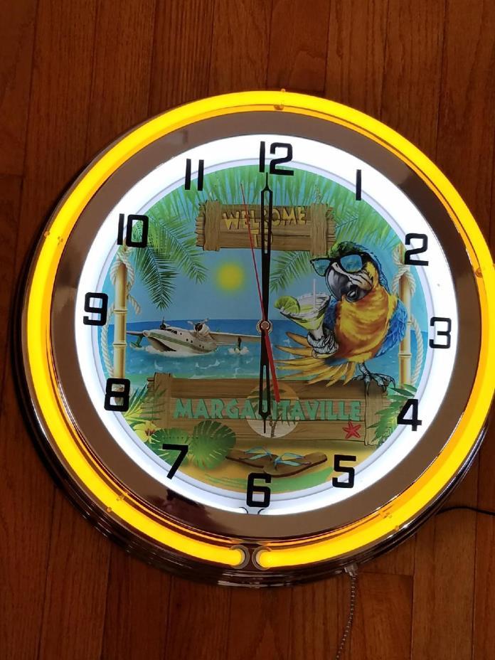 Margaritaville Neon Clock NEW IN BOX 18 inch double neon clock
