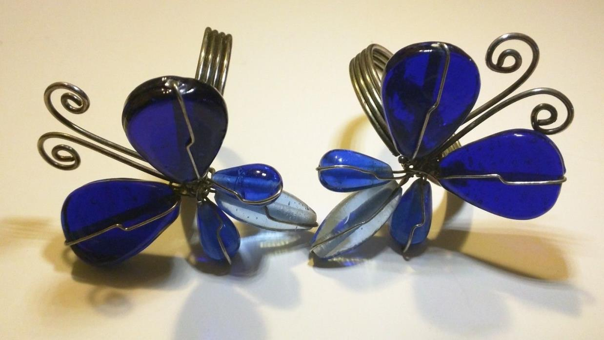Vintage Cobalt Glass & Wire Large Beaded Butterfly Dragonfly Napkin Ring Holders