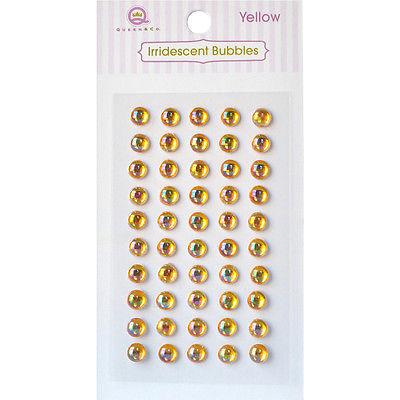 Queen & Co Iridescent Bubbles Dots Self-Adhesive 50/Pkg-Yellow IB-526