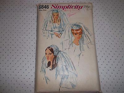 VTG SIMPLICITY #6846 Bridal Headpiece Veils Pattern 3 Styles  Uncut.