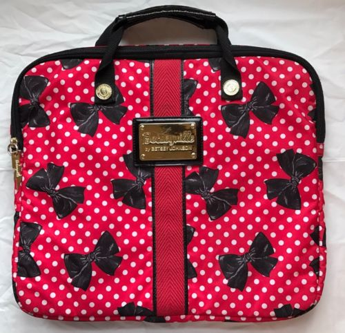 Betsey Johnson Betseyville Laptop Carrying Case Bag Red w/ Black Bows Zip Close