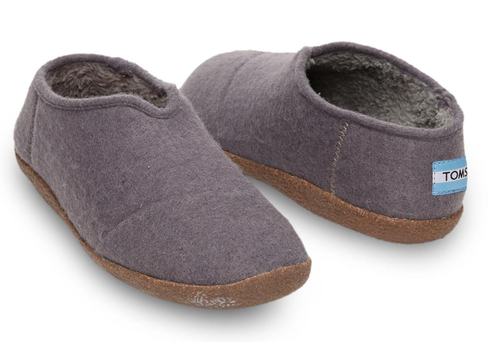 $48 TOMS Gray Charcoal Wool Men's Slippers Size 9 NEW!
