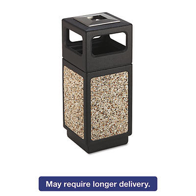 Canmeleon Ash/trash Receptacle, Square, Aggregate/polyethylene, 15gal, Black