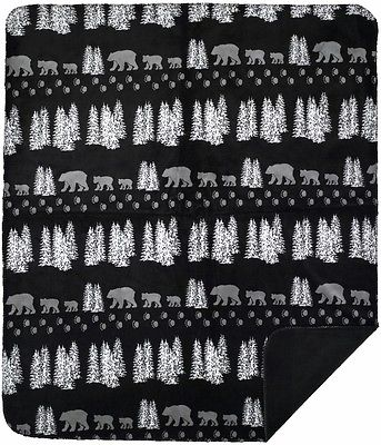 Black Denali Bear and Pines Rustic Lodge Microplush Throw Blanket 018 Made in US