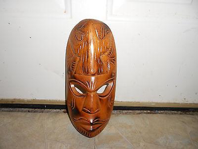 Hand Carved Wood Fiji Islands Polynesian Tribal Mask
