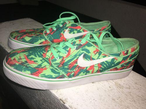 Nike SB Zoom Stefan Janoski Lucid Green & Light Crimson Canvas Shoes Sz 9.5 NEW