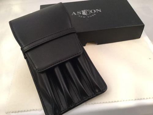Aston Leather 4 Quadruple Pen Holder Black Handmade In New York USA