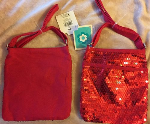 NWT Girl's Women's Sequin RED ,Bolso adjustable Shoulder strap- Bag/Purse