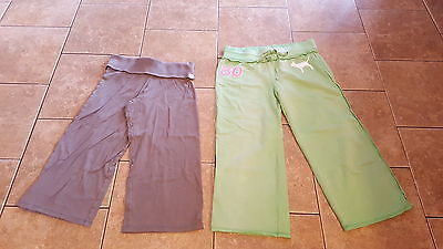 Victoria Secret PINK gray yoga lounge & green crop lounge lot of 2! Size xs GUC