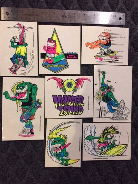 80's Monster Island Surf Stickers Assorted NOS