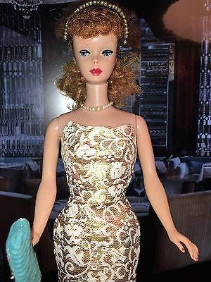 Vintage 1960s Barbie Titan Hair Ponytail Blue Eye Shadow in Splendour Gold Dress