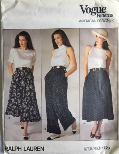 Vogue 1723 sewing pattern Flared SKIRT retro chic PANTS sew RALPH LAUREN size 8