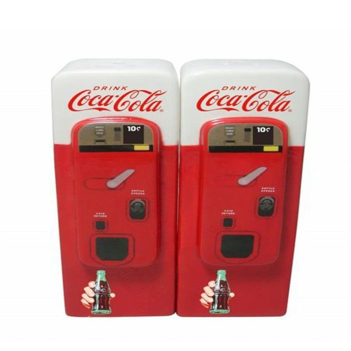 New Coca Cola Ceramic Vending Machine Salt & Pepper Shaker Set + 1  Coke