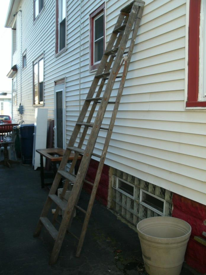 vintage TALL wood wooden 9 step ladder- repurpose only- local pickup [Buffalo]