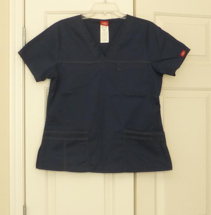 Dickies Women's Navy Blue Scrub Top, Size Medium