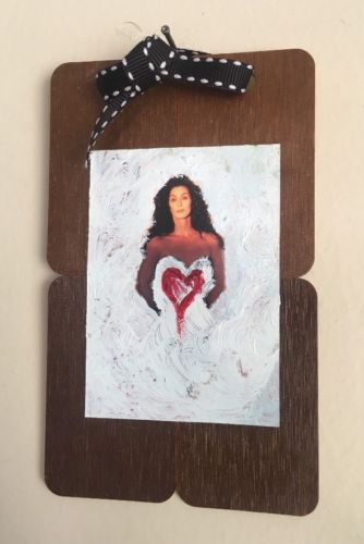 RARE CHER FRAMED Painting VINTAGE Wall Art Heart Love Photo
