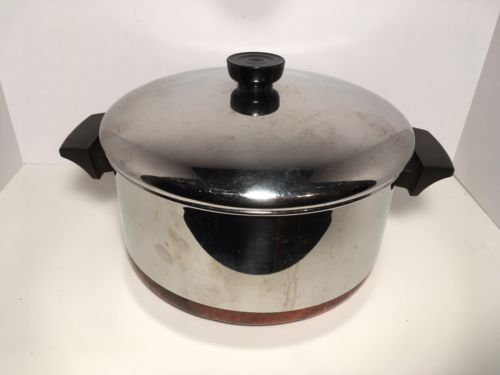 Vintage REVERE WARE USA Copper Clad Stainless Steel Stock POT 4.5 Qt Cookware