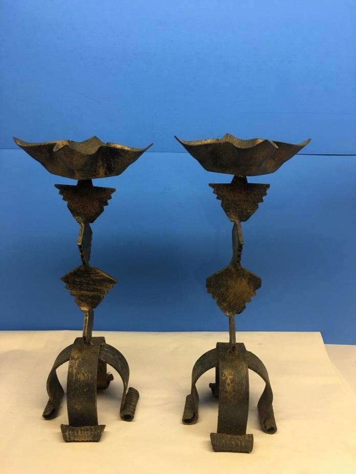 PAIR VINTAGE METAL BLACK/BRONE TONE  CANDLE HOLDERS HOME & GARDEN LIGHT SET