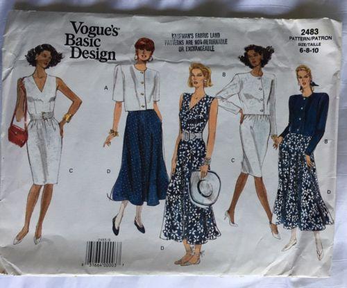 Vogue 2483 Vintage Sew Pattern Jacket Dresses Sizes 6-8-10 Unopened