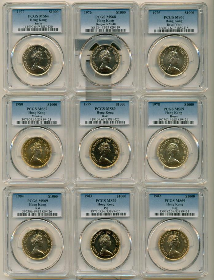 1975-1980 and 1982-84 $1000 Gold PCGS Grdeded