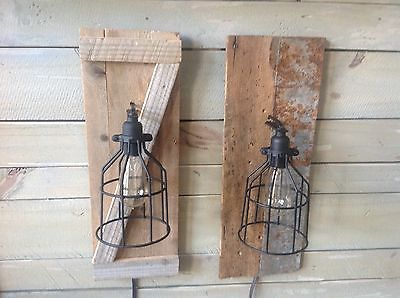 Barn Wood Sconce with Cage Light