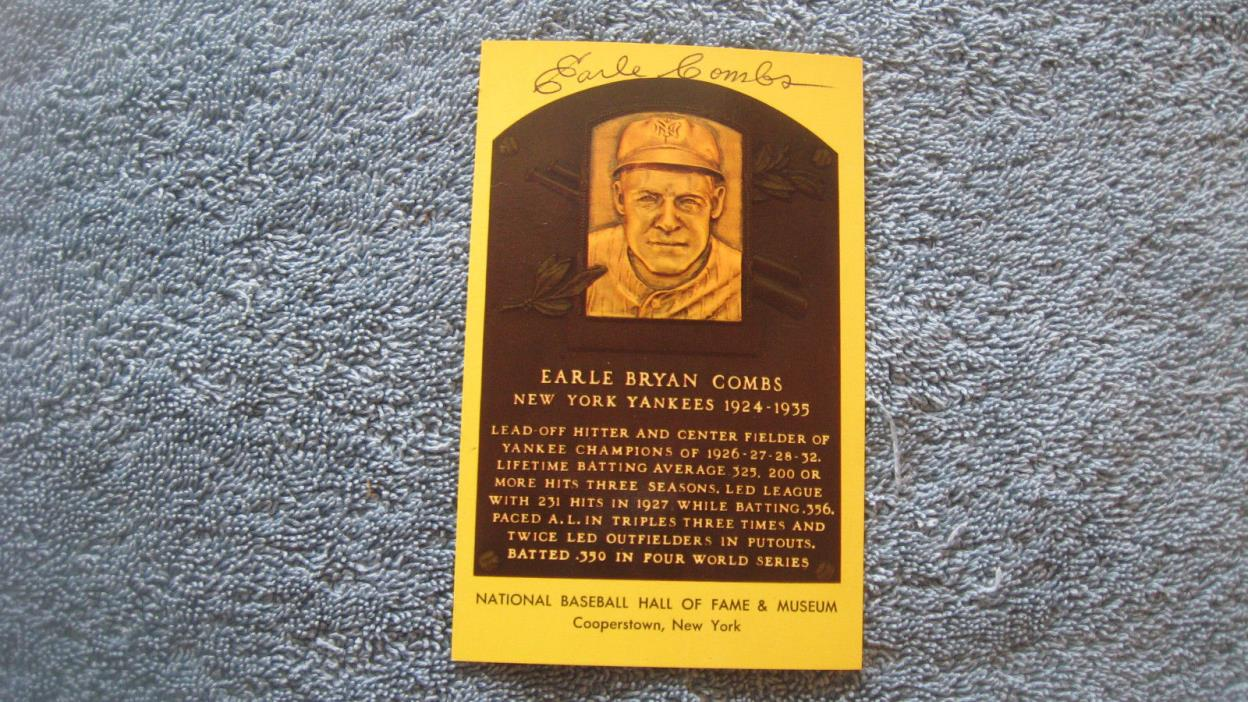 Autographed Earle Combs yellow baseball HOF Plaque postcard.