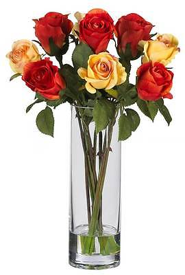 Roses with Glass Vase Silk Flower Arrangement [ID 58790]