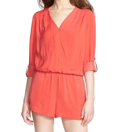 Trouve' NEW Red Bloom Womens Medium M Surplice Four-Pocket Romper $98 709 DEAL