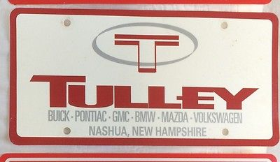 Dealer front license plate Tulley Buick Pontiac GMC BMW Mazda VW Nashua NH
